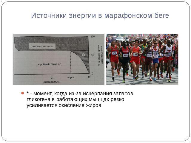 Источники энергии в марафонском беге * - момент, когда из-за исчерпания запас...
