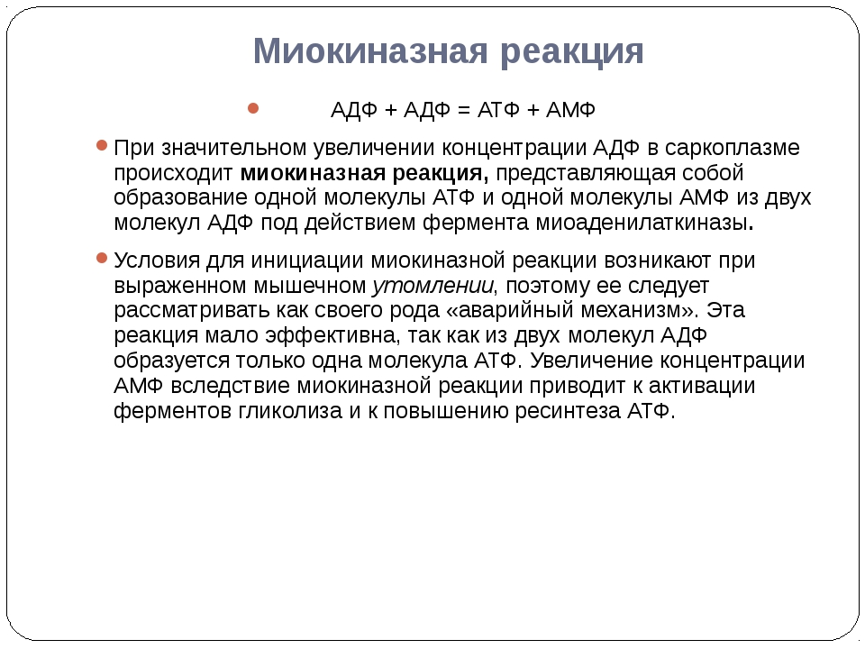 Миокиназная реакция АДФ + АДФ = АТФ + АМФ При значительном увеличении концент...