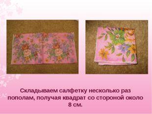 Складываем салфетку несколько раз пополам, получая квадрат со стороной около