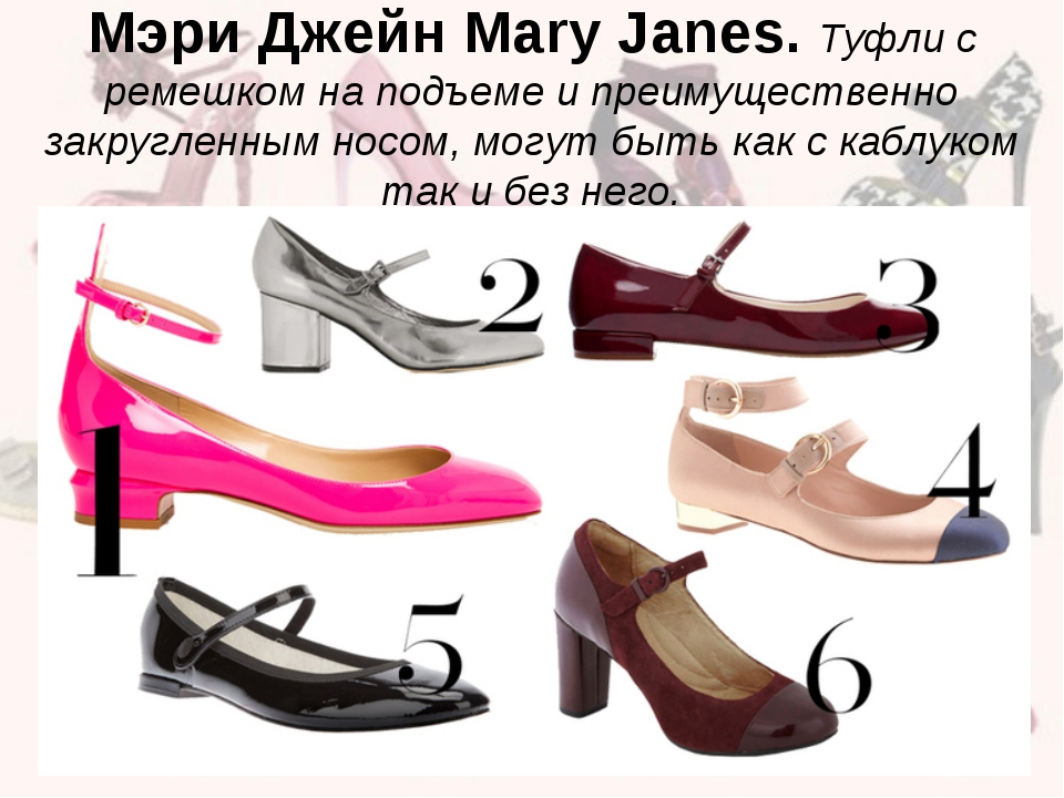 Мэри Джейн Mary Janes. Туфли с ремешком на подъеме и преимущественно закругле...