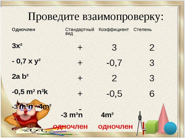 Проведите взаимопроверку: -3 m³n 4m² одночлен одночлен ОдночленСтандартный...