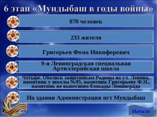 Начало 1 2 3 4 5 6 870 человек 233 жителя Григорьев Фома Никифорович 9-я Лени