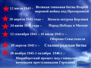 12 июля 1943 - 20 апреля 1945 года – 24 июня 1945 года – Великая танковая бит