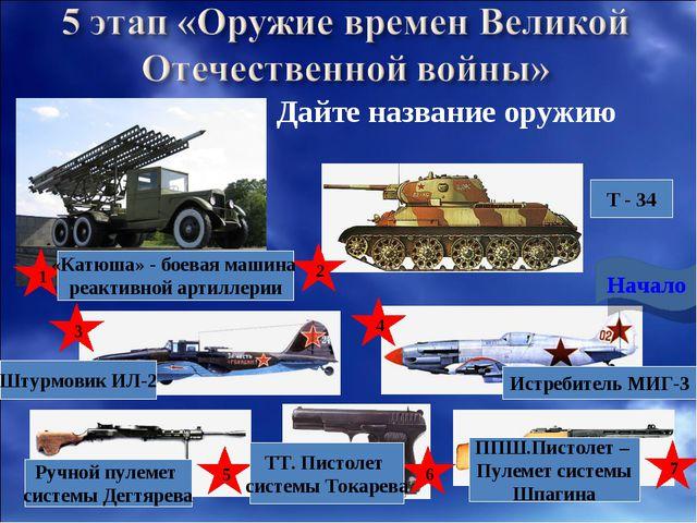 Дайте название оружию 1 2 3 4 5 7 Начало «Катюша» - боевая машина реактивной...