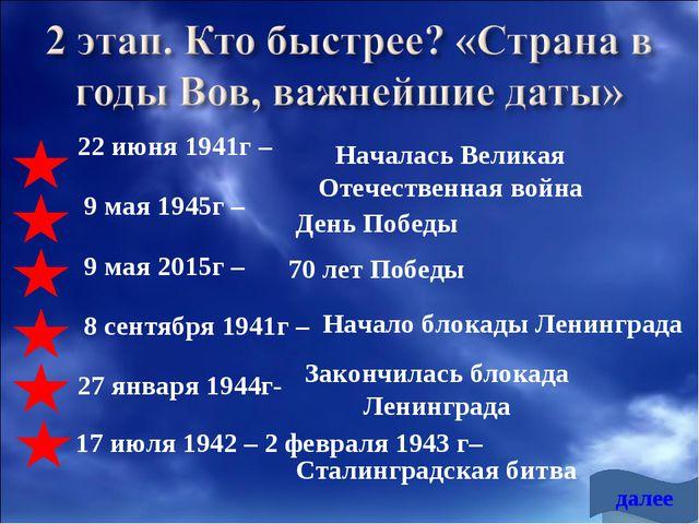 22 июня 1941г – 9 мая 1945г – 9 мая 2015г – 8 сентября 1941г – 27 января 194...
