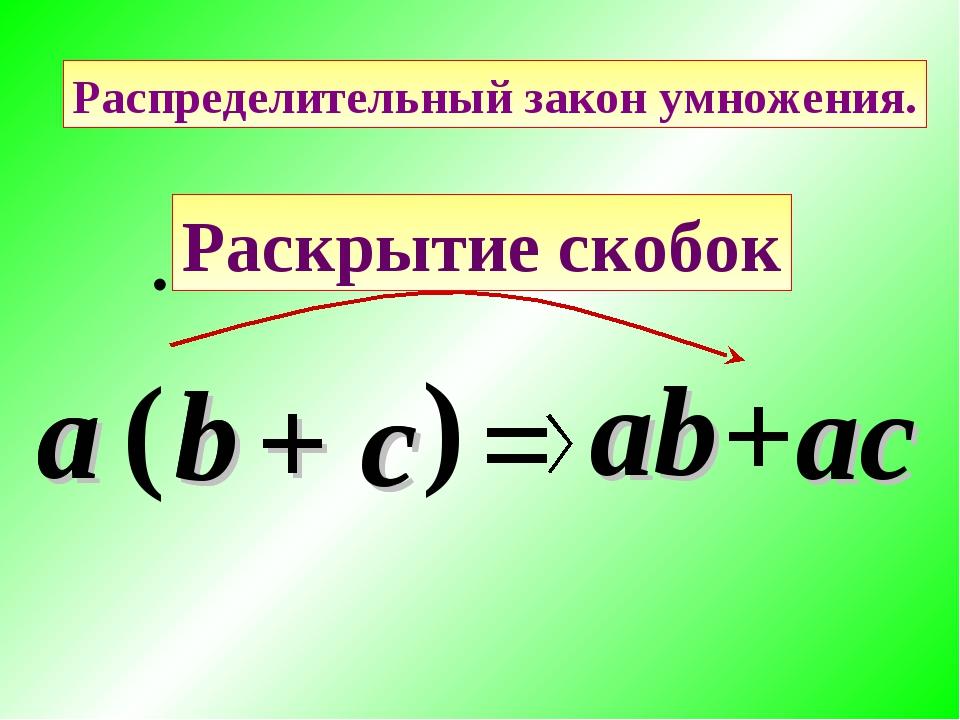 c Распределительный закон умножения. a ( b ) = ab +ac a b + c Раскрытие скобок