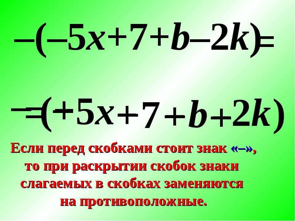 – ( – 5x + 7 + b – 2k ) –(–5x+7+b–2k) + – – + = Если перед скобками стоит зна...