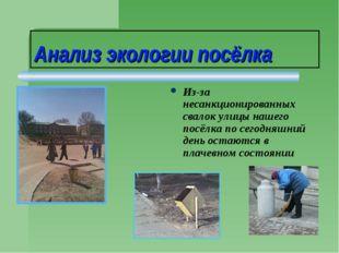 Анализ экологии посёлка Из-за несанкционированных свалок улицы нашего посёлка