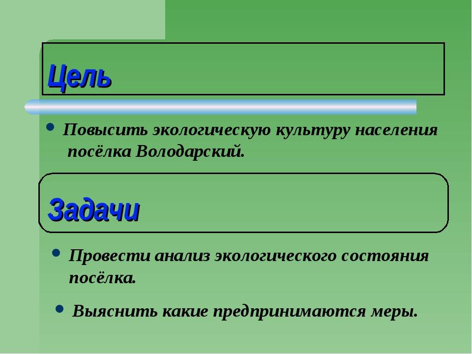 Цель Повысить экологическую культуру населения посёлка Володарский. Задачи Пр...