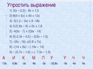 Упростить выражение 1) 3(х – 0,5) - 8х + 1,5 2)-8(5 + 2х) + 40 + 12х 3) -5(1,