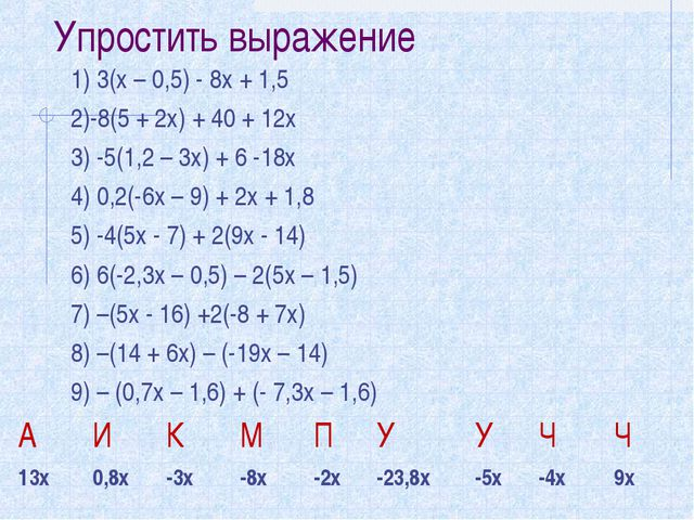 Упростить выражение 1) 3(х – 0,5) - 8х + 1,5 2)-8(5 + 2х) + 40 + 12х 3) -5(1,...