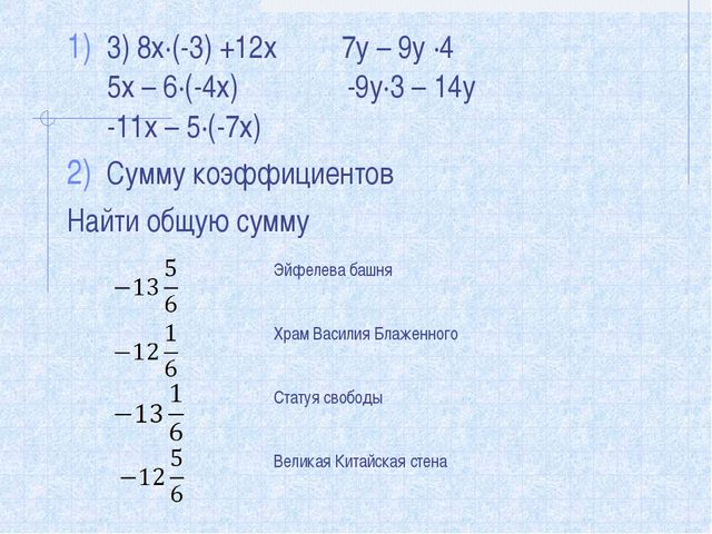3) 8х∙(-3) +12х 7у – 9у ∙4 5х – 6∙(-4х) -9у∙3 – 14у -11х – 5∙(-7х) Сумму коэф...