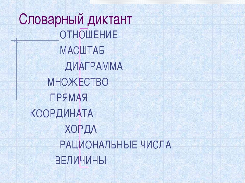 Словарный диктант ОТНОШЕНИЕ МАСШТАБ ДИАГРАММА МНОЖЕСТВО ПРЯМАЯ КООРДИНАТА ХОР...