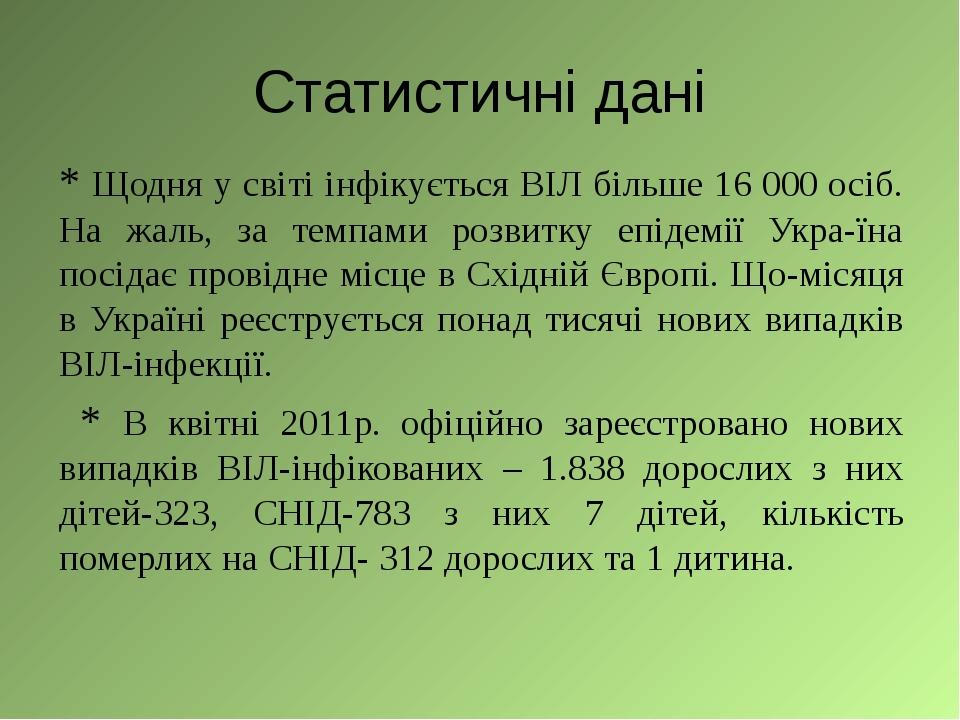 Статистичні дані * Щодня у світі інфікується ВІЛ більше 16 000 осіб. На жаль,...