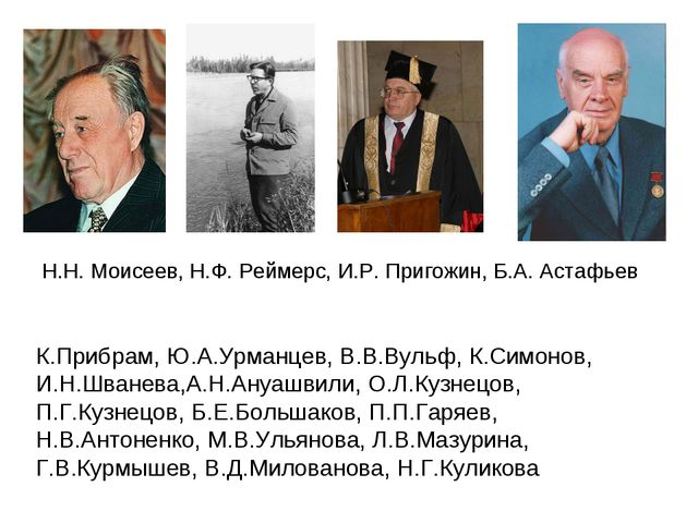 Н.Н. Моисеев, Н.Ф. Реймерс, И.Р. Пригожин, Б.А. Астафьев К.Прибрам, Ю.А.Урман...