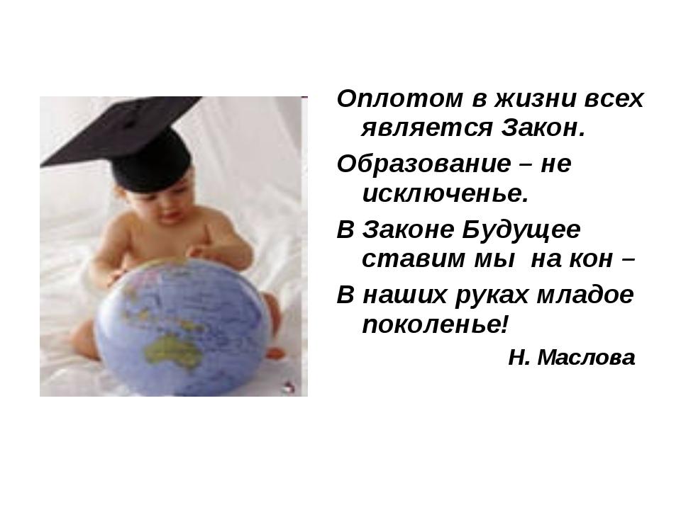 Оплотом в жизни всех является Закон. Образование – не исключенье. В Законе Бу...