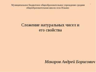 Макаров Андрей Борисович Муниципальное бюджетное общеобразовательное учрежден