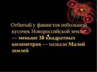 Отбитый у фашистов небольшой кусочек Новороссийской земли — меньше 30 квадра