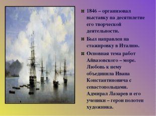1846 – организовал выставку на десятилетие его творческой деятельности. Был н
