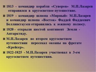 1813 - командир корабля «Суворов» М.П.Лазарев отправился в кругосветное путеш