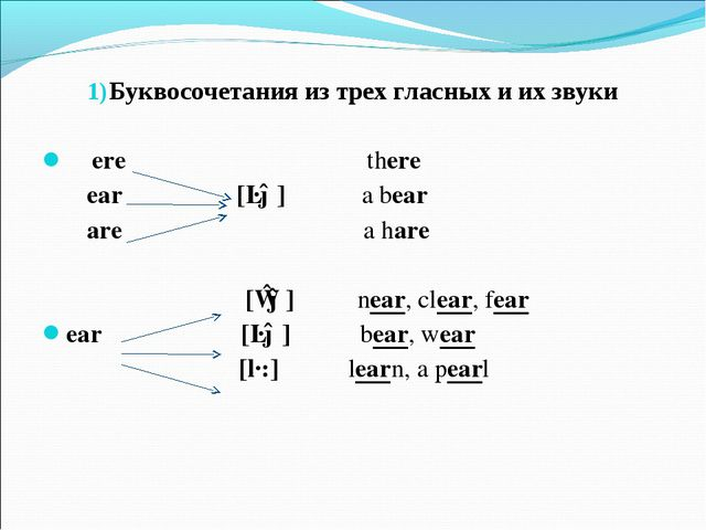 Буквосочетания из трех гласных и их звуки ere there ear [ɛə] a bear are a ha...