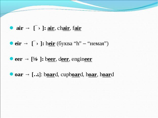 "air → [ɛə]: air, chair, fair eir → [ɛə]: heir (буква ""h"" – ""немая"") eer → [ɪ..."