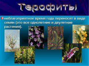 неблагоприятное время года переносят в виде семян (это все однолетние и двул