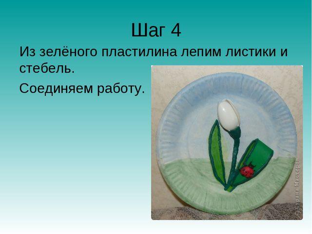 Шаг 4 Из зелёного пластилина лепим листики и стебель. Соединяем работу.