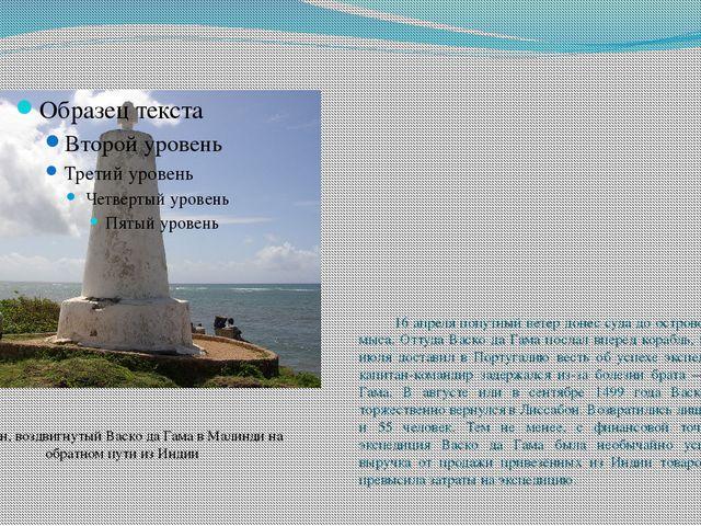 16 апреля попутный ветер донес суда до островов Зелёного мыса. Оттуда Васко...