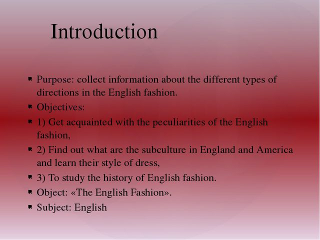 Purpose: collect information about the different types of directions in the E...