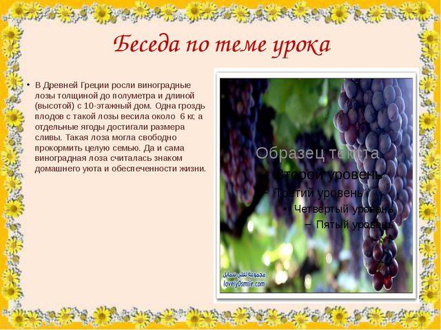 Беседа по теме урока В Древней Греции росли виноградные лозы толщиной до полу...