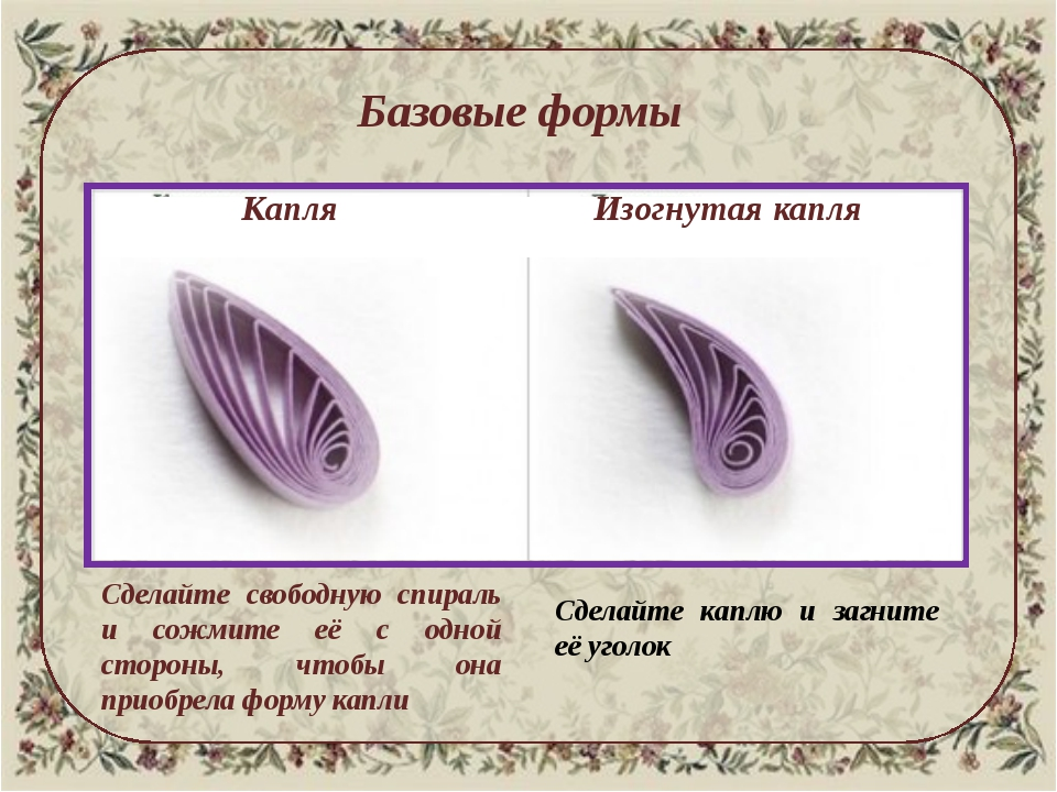 Базовые формы Капля Изогнутая капля Сделайте свободную спираль и сожмите её...