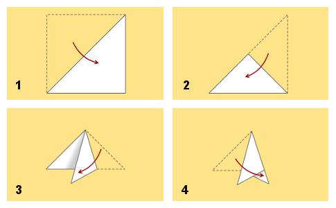Как сделать из бумаги треугольник для снежинки
