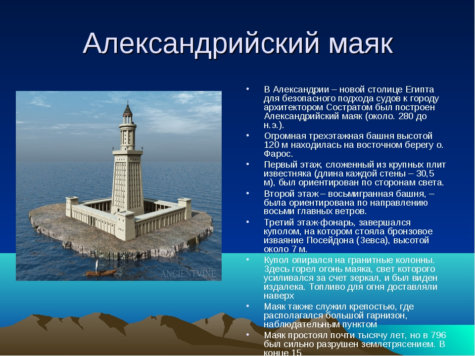 Александрийский маяк В Александрии – новой столице Египта для безопасного под...