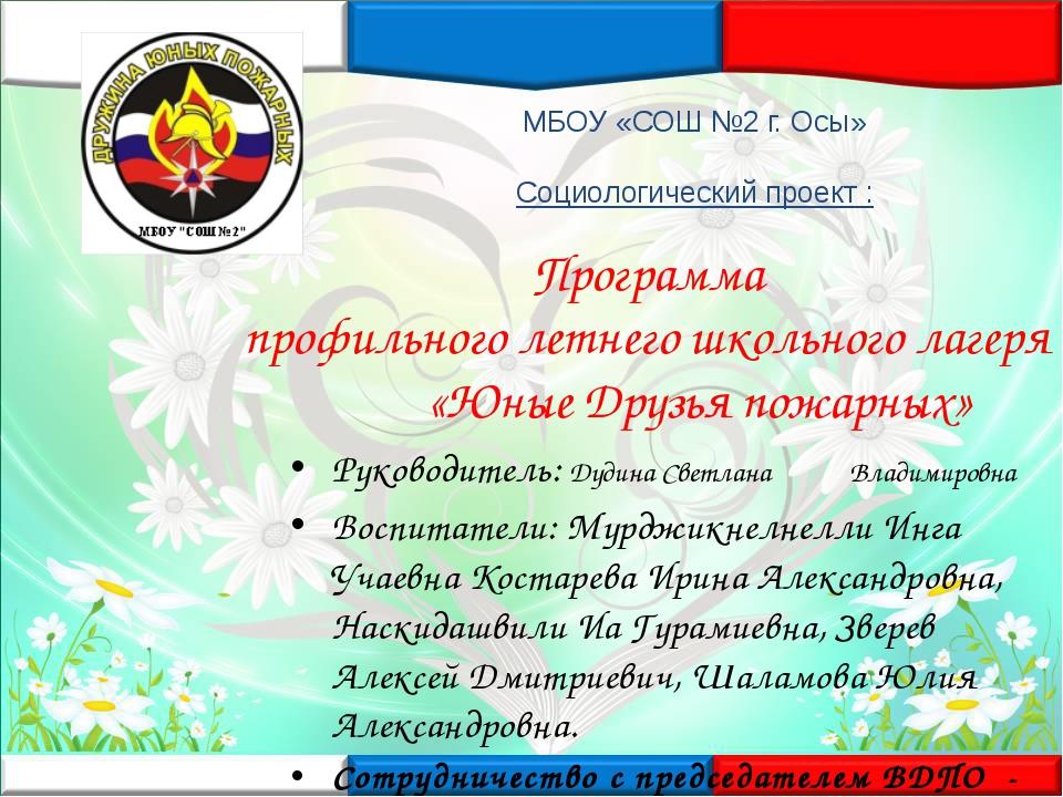 Программа профильного летнего школьного лагеря «Юные Друзья пожарных» МБОУ «С...