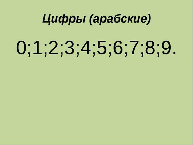 Цифры (арабские) 0;1;2;3;4;5;6;7;8;9.