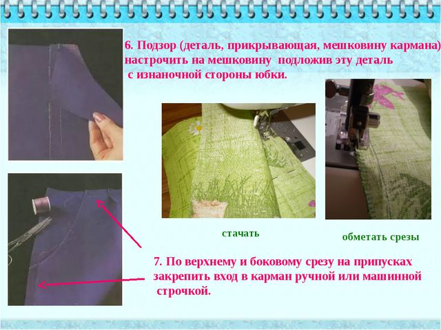 6. Подзор (деталь, прикрывающая, мешковину кармана) настрочить на мешковину п...