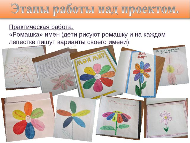 Практическая работа. «Ромашка» имен (дети рисуют ромашку и на каждом лепестке...