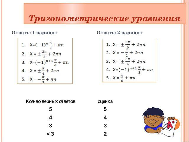 Тригонометрические уравнения Ответы 1 вариант Ответы 2 вариант Кол-во верных...