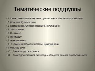 Тематические подгруппы 1.Связь грамматики и лексики в русском языке. Лексика