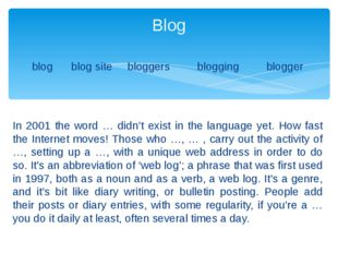 blog blog site bloggers blogging blogger In 2001 the word … didn't exist in t