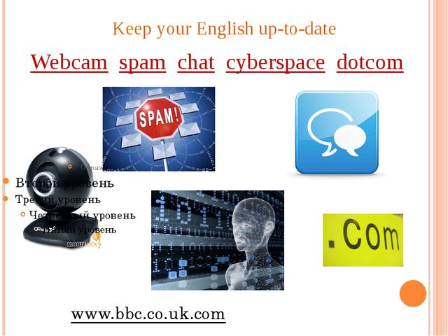 Keep your English up-to-date Webcam spam chat cyberspace dotcom www.bbc.co.uk...
