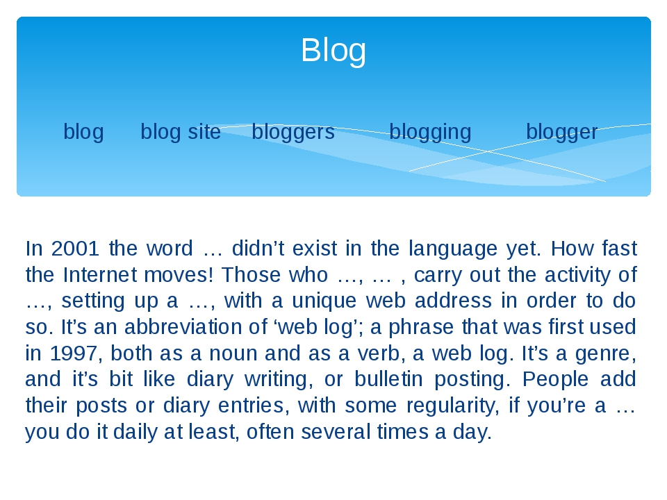 blog blog site bloggers blogging blogger In 2001 the word … didn't exist in t...