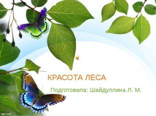 КРАСОТА ЛЕСА Подготовила: Шайдуллина Л. М.