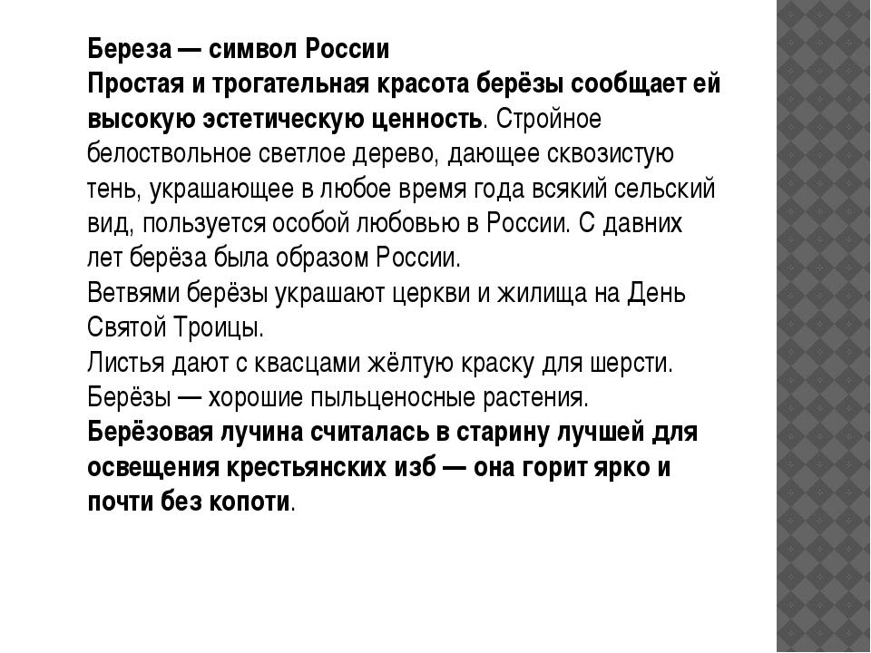 Береза — символ России Простая и трогательная красота берёзы сообщает ей высо...