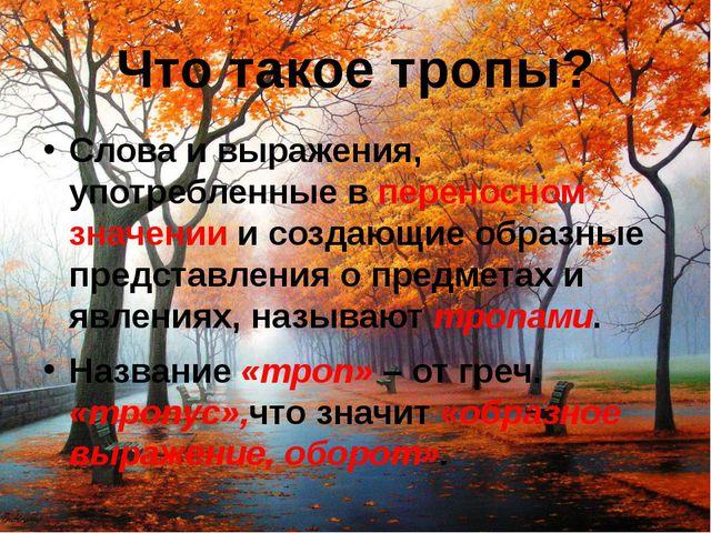 Что такое тропы? Слова и выражения, употребленные в переносном значении и соз...