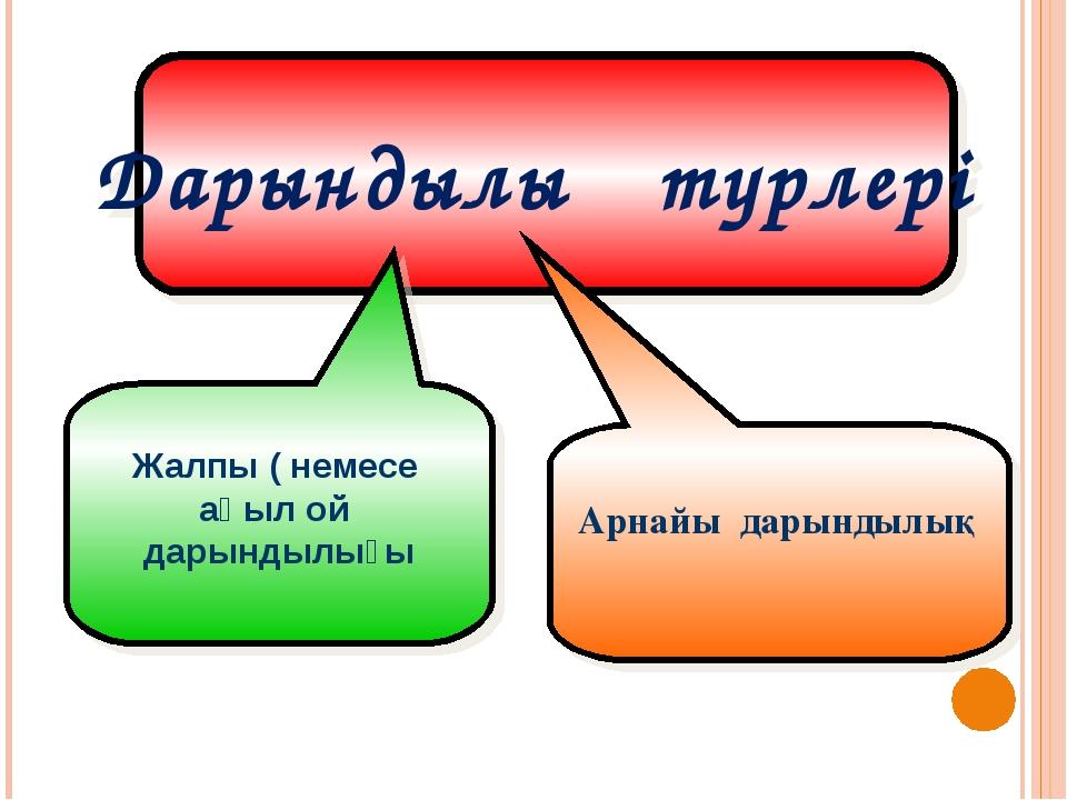 Дарындылық түрлері Жалпы ( немесе ақыл ой дарындылығы Арнайы дарындылық