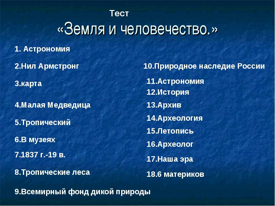 «Земля и человечество.» Тест 1. Астрономия 2.Нил Армстронг 3.карта 4.Малая Ме...