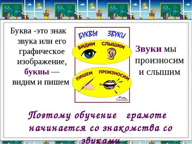 Буква -это знак звука или его графическое изображение, буквы — видим и пишем...