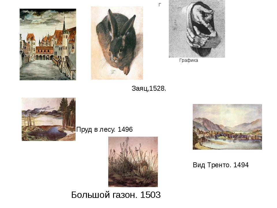 Заяц,1528. Г Графика Пруд в лесу. 1496 Вид Тренто. 1494 Большой газон. 1503 Н...